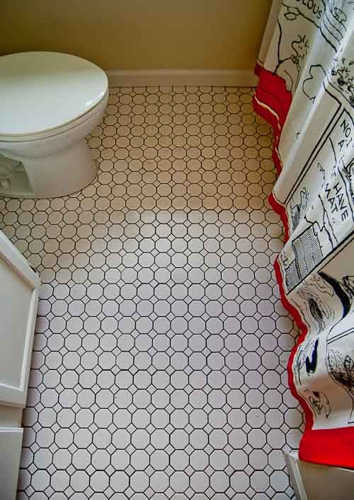 We Put Simple White Octagon And Dot Ceramic Floor Tile American Olean As I Recall From Lowes Or Home Depot Into Mom S Second Small Bathroom