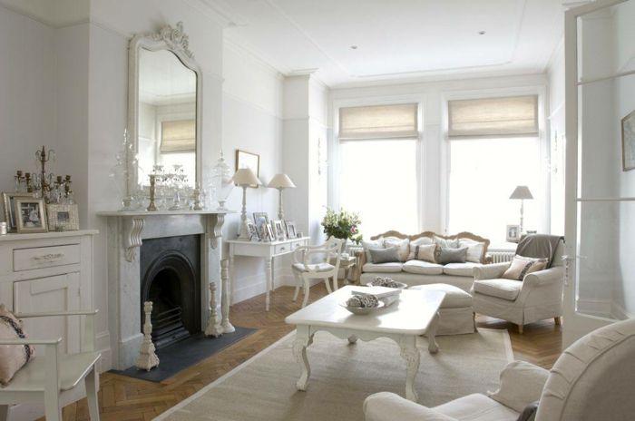 shabby chic stil wohnzimmer einrichten weißes ambiente kamin, Moderne deko