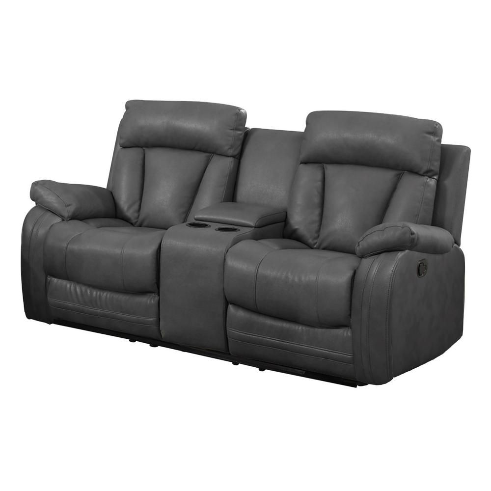 Unbranded Gray Bonded Leather Motion Loveseat 2 Reclining Seats And Console 72004 95 The Home Depot Leather Reclining Sofa Reclining Sofa Recliner