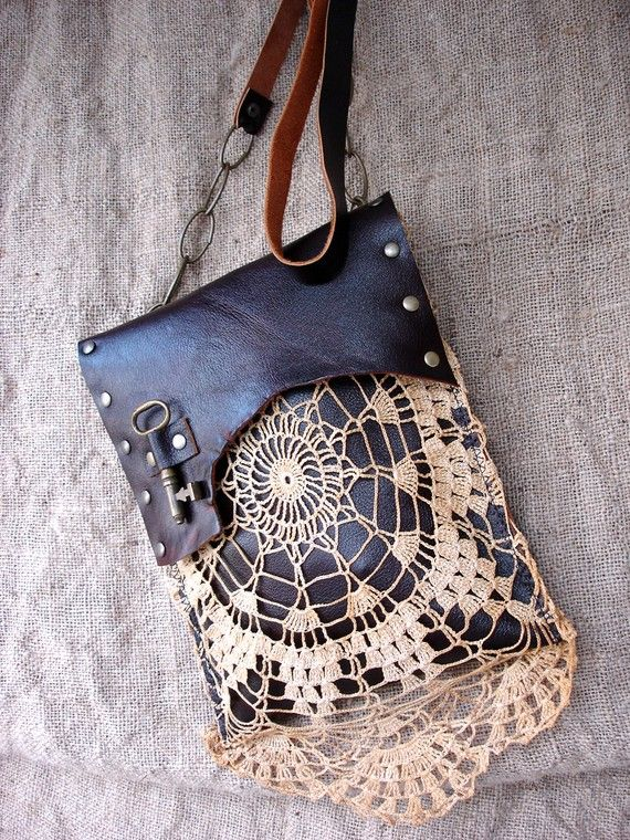 Photo of Boho Leather Festival Bag with Crochet Lace Doily and Antique | Etsy