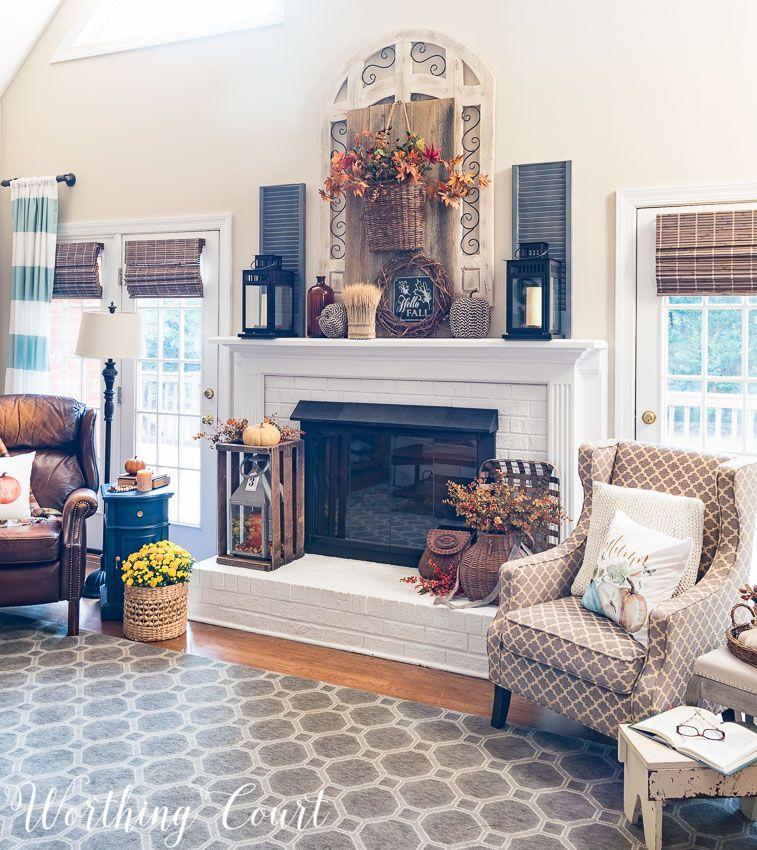 Fall Fireplace Mantels: Rustic Farmhouse Fall Mantel