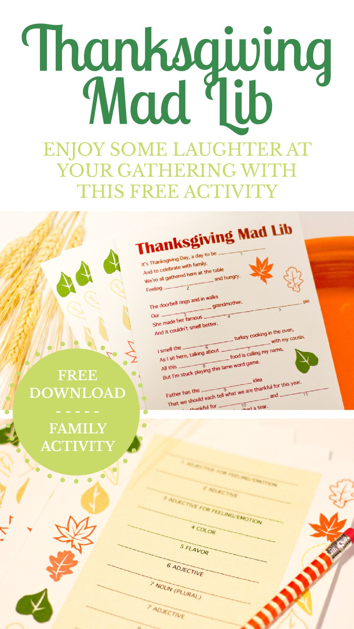 A Free Thanksgiving Mad Lib Printable