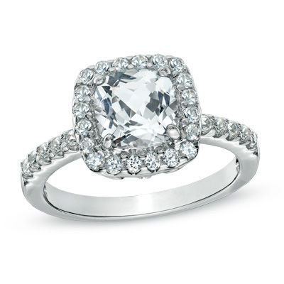 Zales 7.0mm Cushion-Cut Lab-Created Blue and White Sapphire Frame Ring in Sterling Silver - Size 7 G2Sb6CYwh