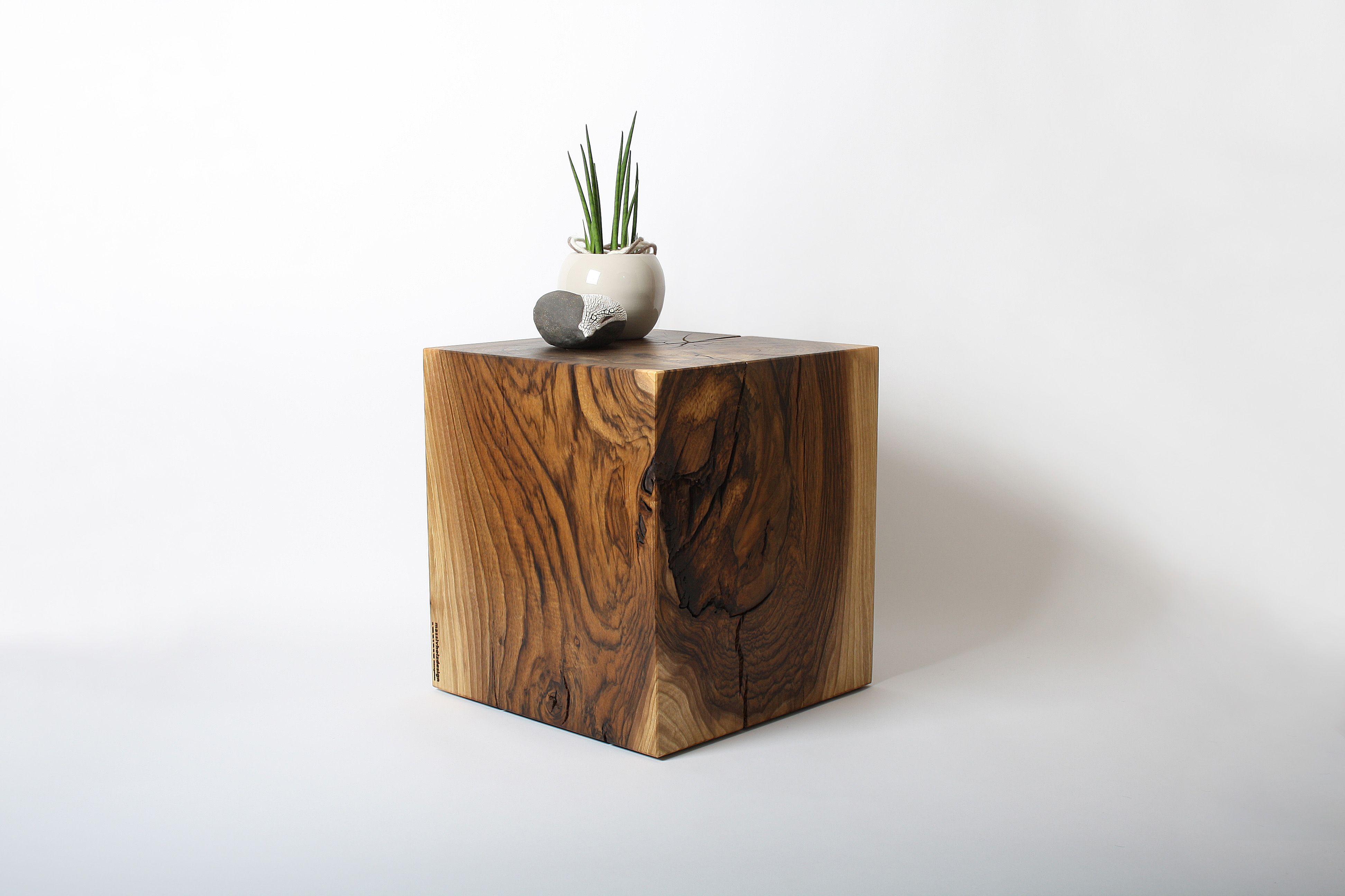 Kubus Nachtisch Salontisch Beistelltisch Clubtisch Holzblock Aus