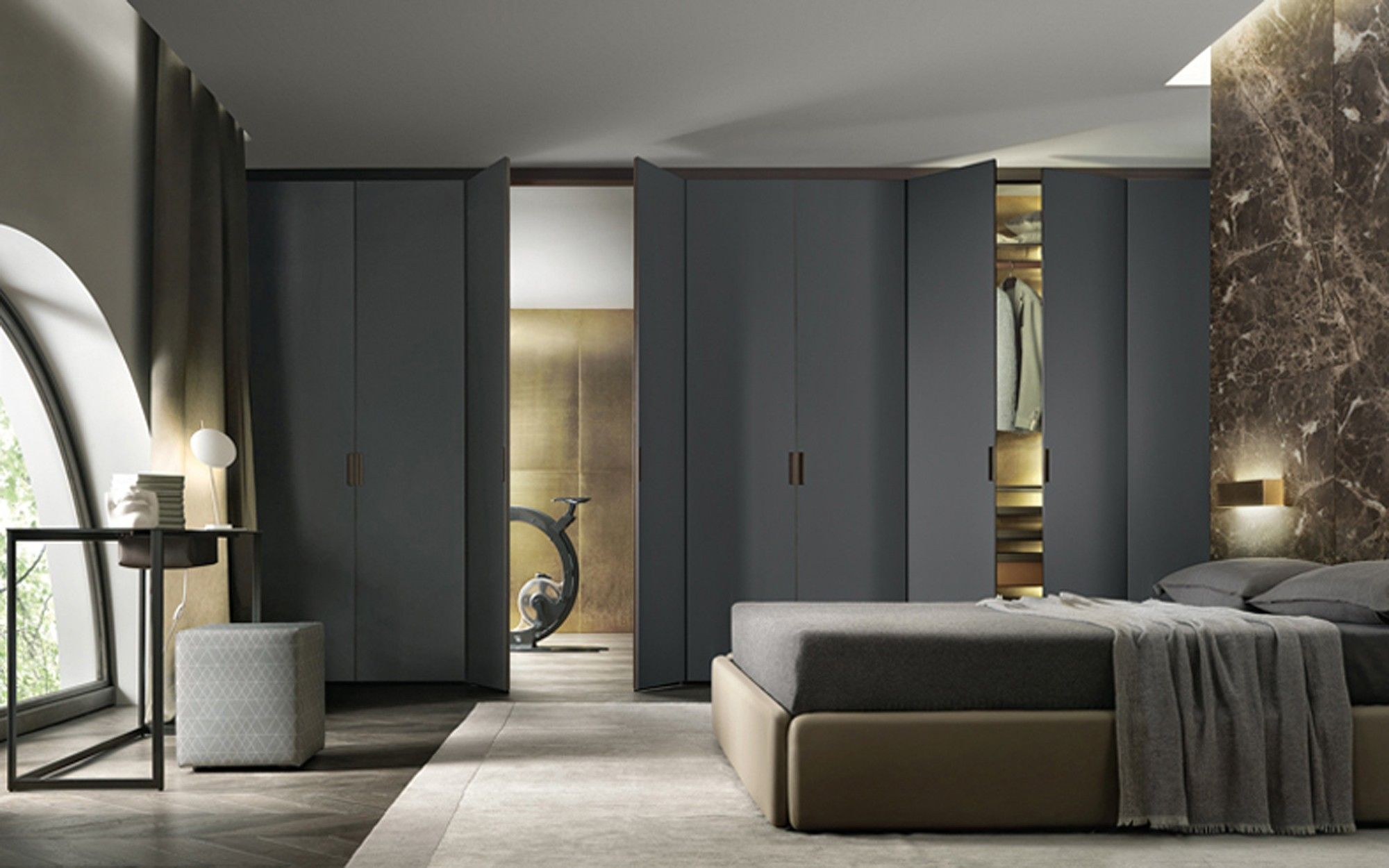Cover Wardrobe from Pure Interiors | Cover is a storage system with exceptional versatility in possible compositions and dimensions. No wall mounting required; all elements are fixed directly onto the supporting structure of the doors without visible screws, and is available with its own internal equipment. This storage system is fitted with patented, innovative technical solutions that guarantee versatility in design, easy installation and exceptional reliability over the years.