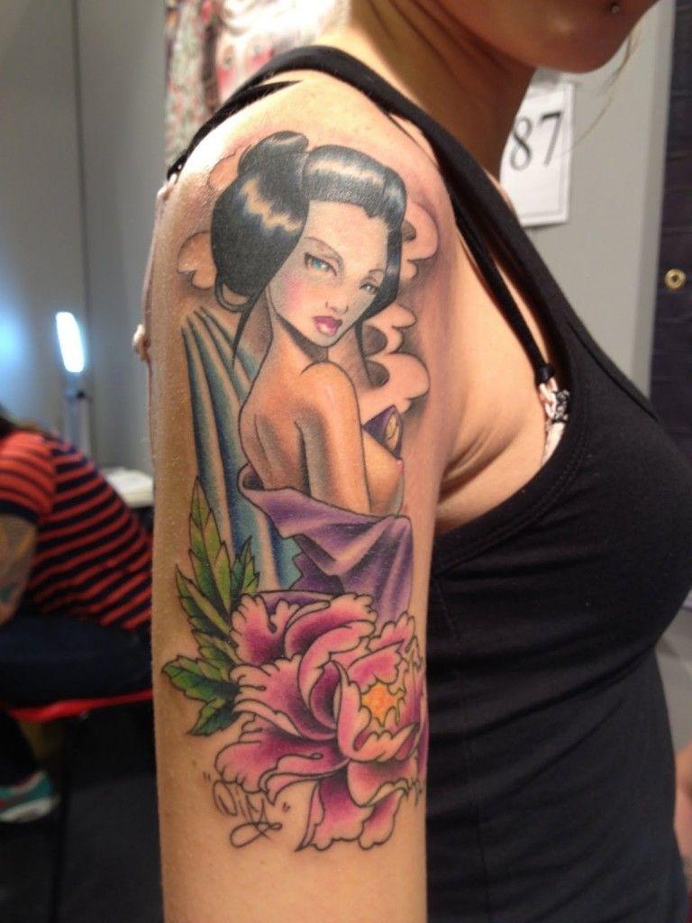 Cartoon tattoo designs on shoulder - Beautiful Geisha Tattoos Designs