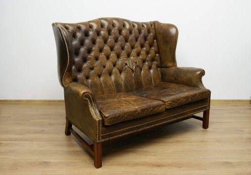 Piekna Sofa Skora Chesterfield 7066937024 Oficjalne Archiwum Allegro Sofa Chesterfield Chesterfield Chair