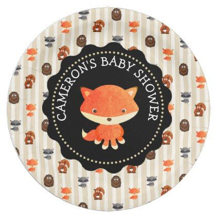 Personalized baby shower plates woodland themed baby shower plates negle Gallery