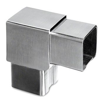 Flush 90 Stainless Steel Tube Connection Fitting 304 Grade Square Line Balustrade System Stainless Steel Tubing Handrail Fittings Glass Balustrade