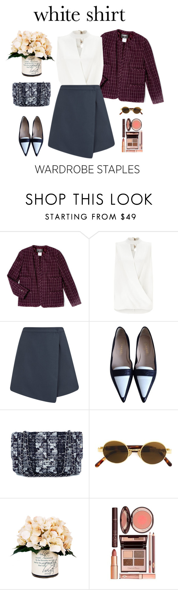 """""""White shirt"""" by yagmur ❤ liked on Polyvore featuring Chanel, Miss Selfridge, The Fifth Label, Moschino, Creative Displays and WardrobeStaples"""