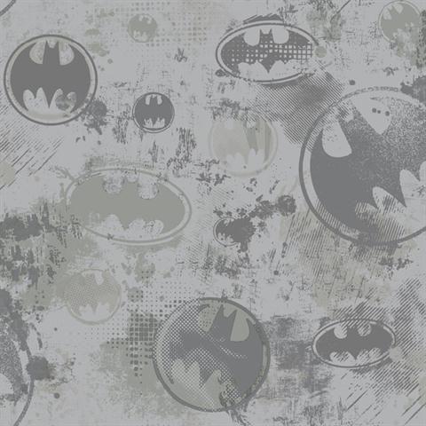 Batman Wallpaper, Soft Gray & Medium Gray & Slate Gray