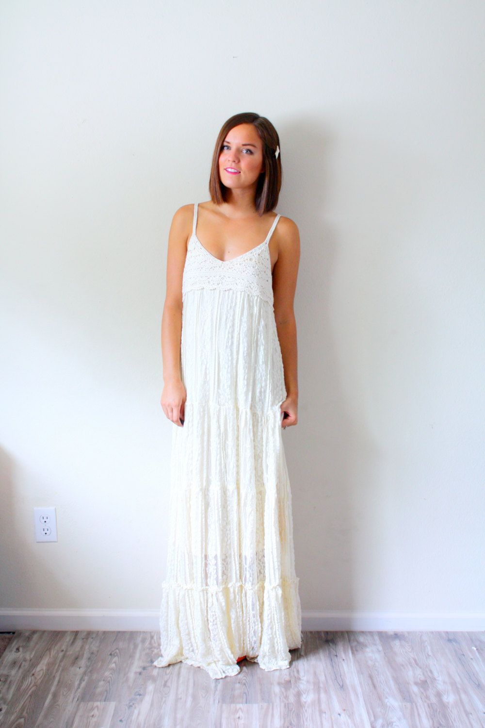 Vintage Boho Wedding dress boho crochet shabby chic floor