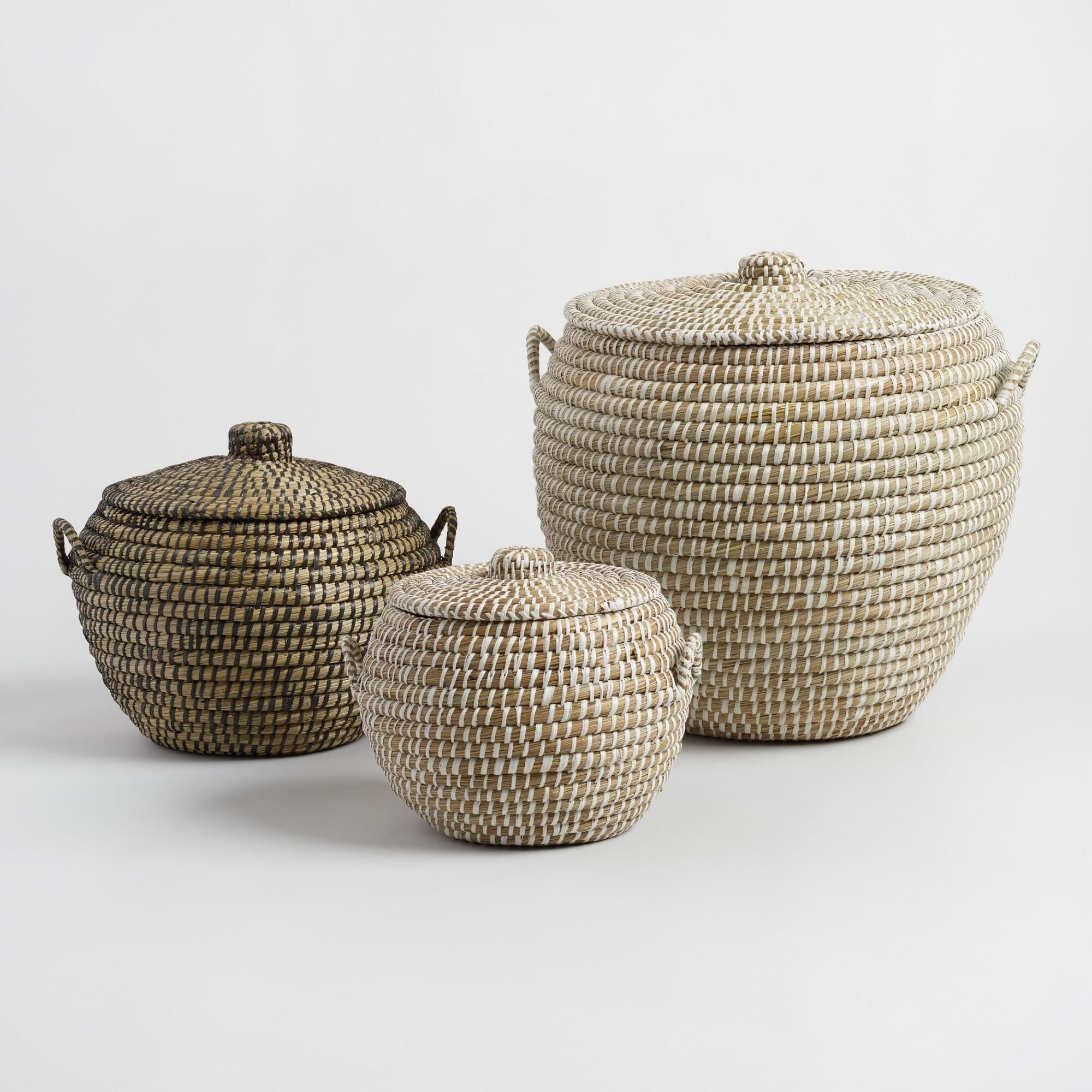 Seagrass Penelope Tote Baskets with Lids | decorative accessories ...