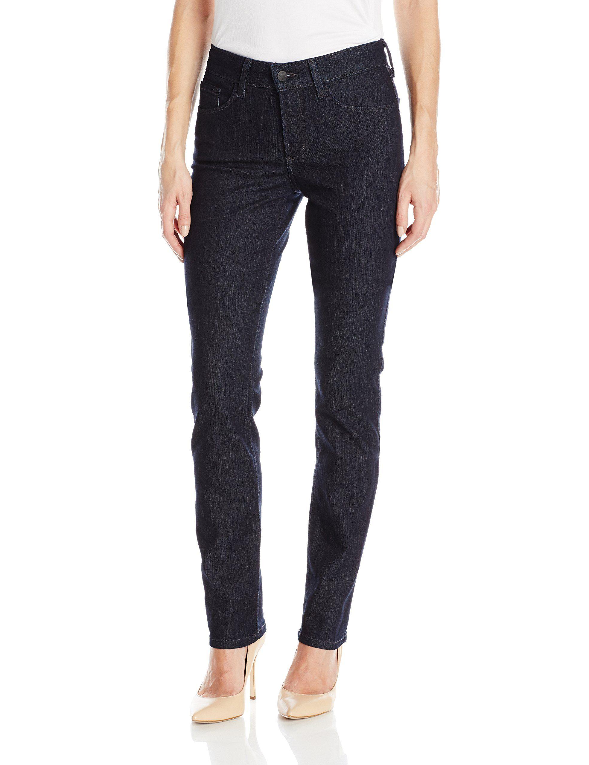 NYDJ Women's Samantha Slim Jeans in Premium Lightweight Denim, Dark Enzyme Wash, 14