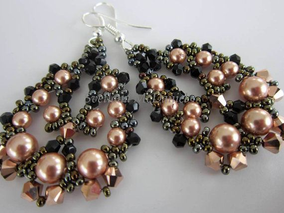 PDF tutorial beaded earrings rose gold Swarovski por BeadsMadness