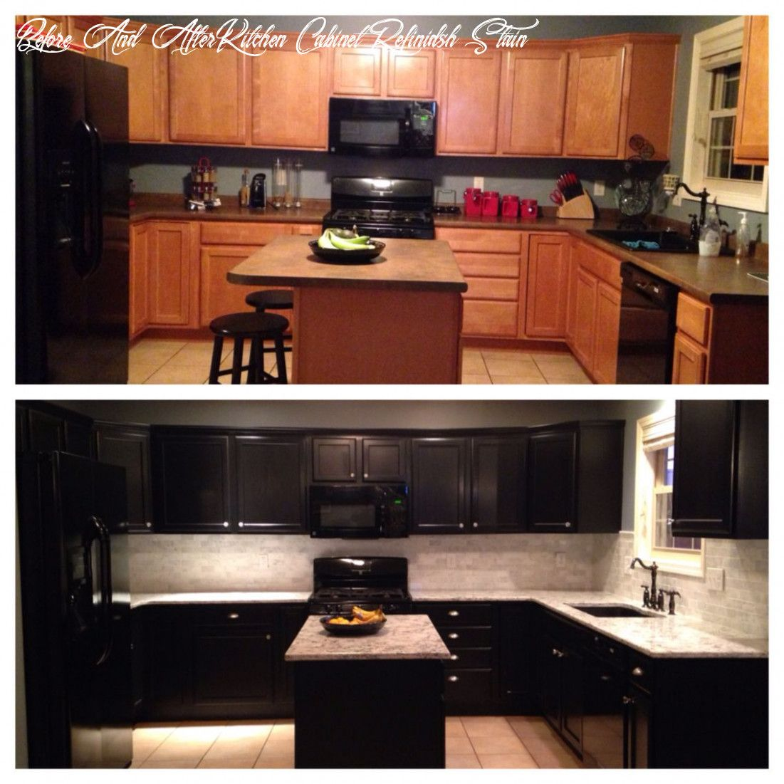 Before And After Kitchen Cabinet Refinidsh Stain In 2020 Diy Kitchen Cabinets Kitchen Cabinets Before And After Kitchen Cabinets Painted Before And After