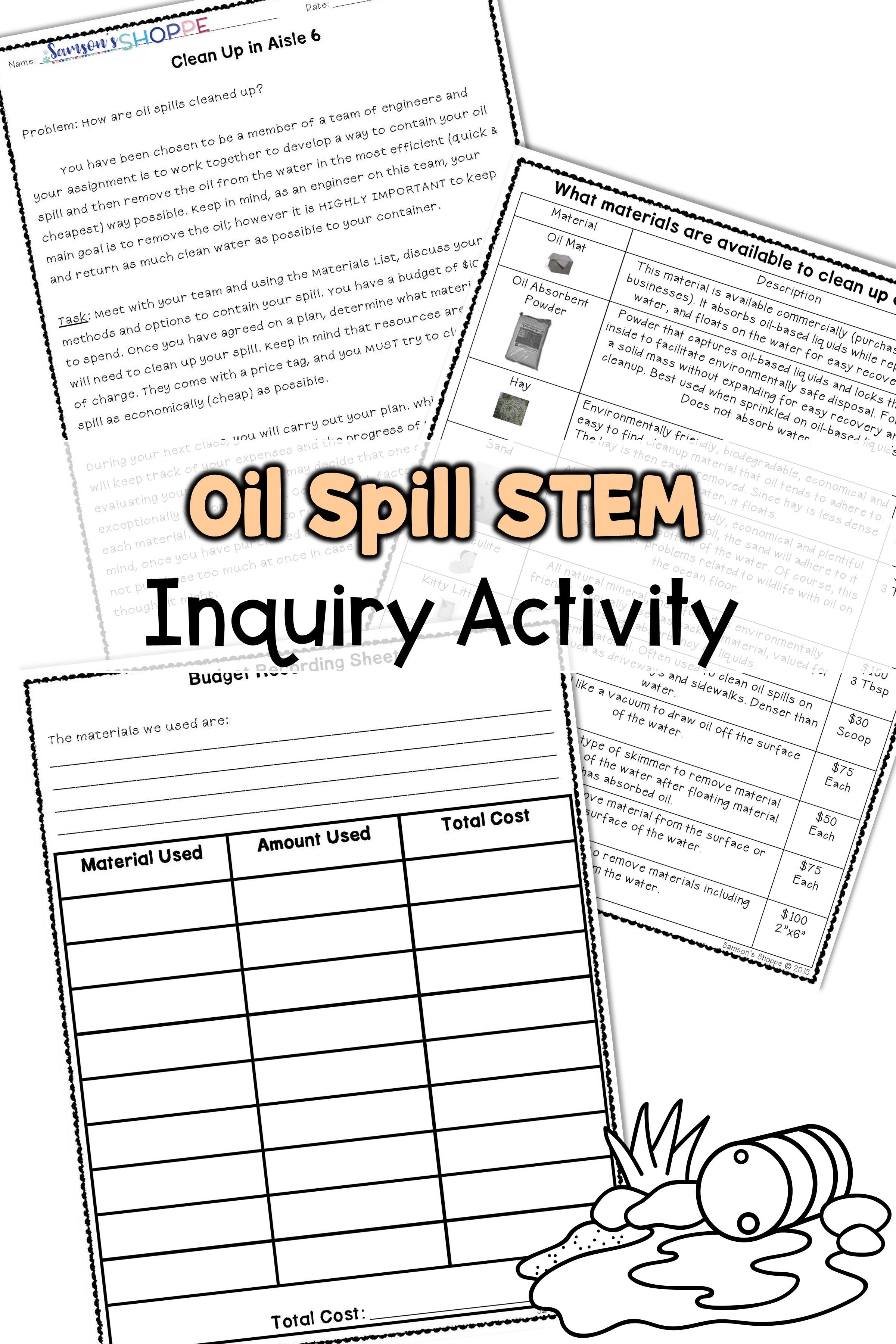 Oil Spill Inquiry Stem Activity