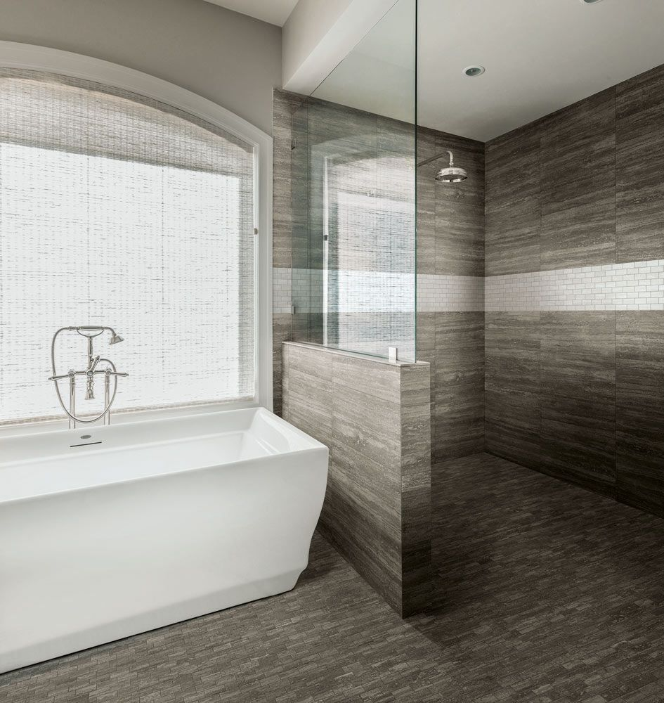 I wish my bathroom looked like this one. A fully tiled floor is ...