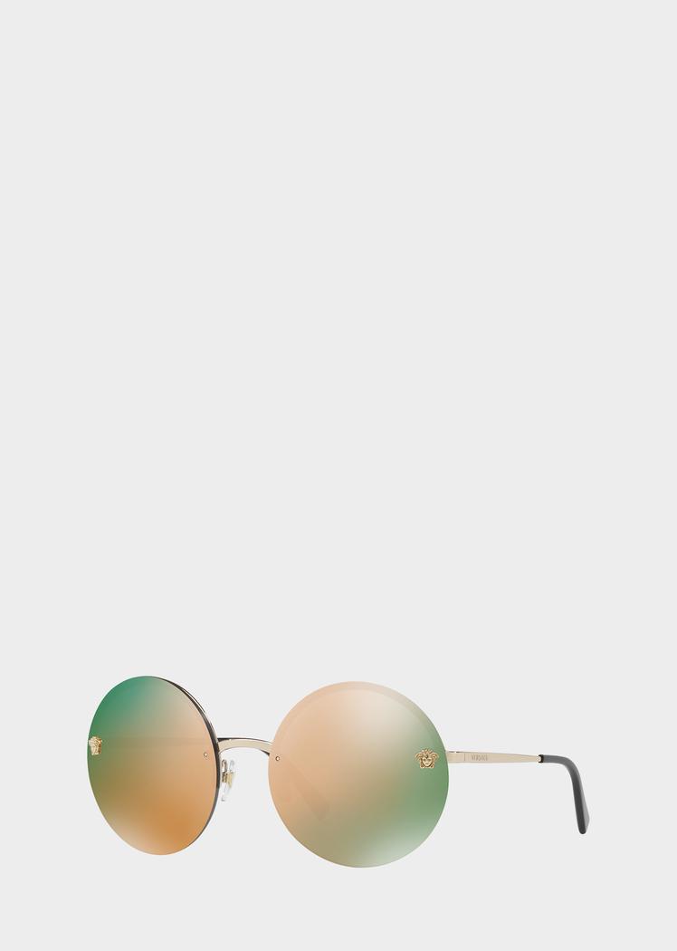 e58318bb8452 Versace Pink-Gold Mirror Medusa Sunglasses for Women