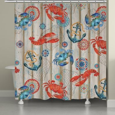 coral and blue shower curtain. Laural Home  Fresh Catch Shower Curtain in Coral Blue BedBathandBeyond com