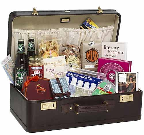 Gifts For Out Of Town Wedding Guests: Suitcase Welcome Basket... A Little Impractical For The
