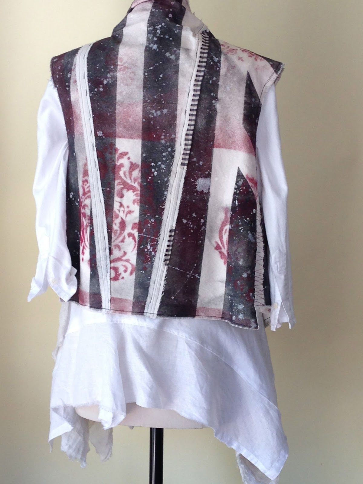 Gayle Ortiz: Stenciled canvas vest and remade men's shirt combo