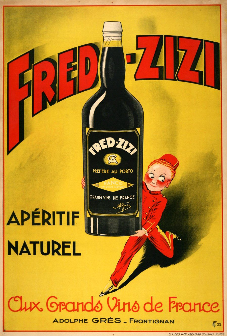 Fred zizi aperitif wine vintage advertising poster 1932 for Classic aperitif