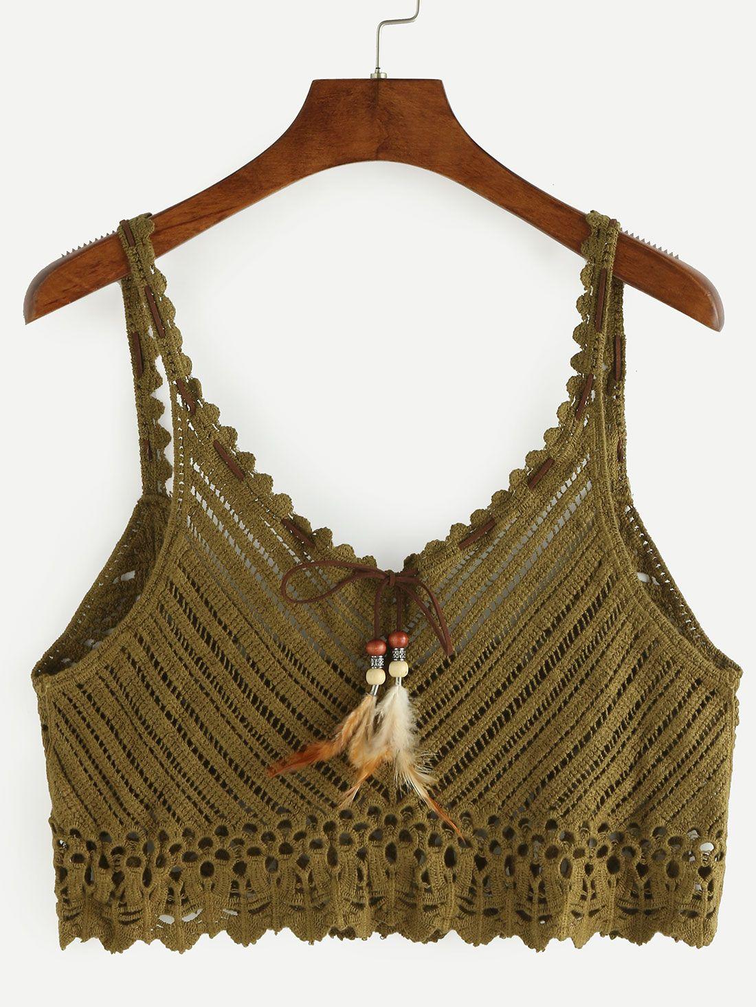 Neck Crop Crochet Cami Top - Olive Green | Pinterest | Verde oliva ...