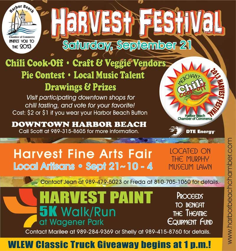 The leaves are turning, the evenings are getting cooler and Harbor Beach is getting geared up for the 15th Annual Harvest Festival / Chili Cook-Off!