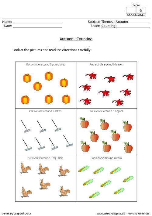 Primaryleap Autumn Counting Objects Worksheet Holiday