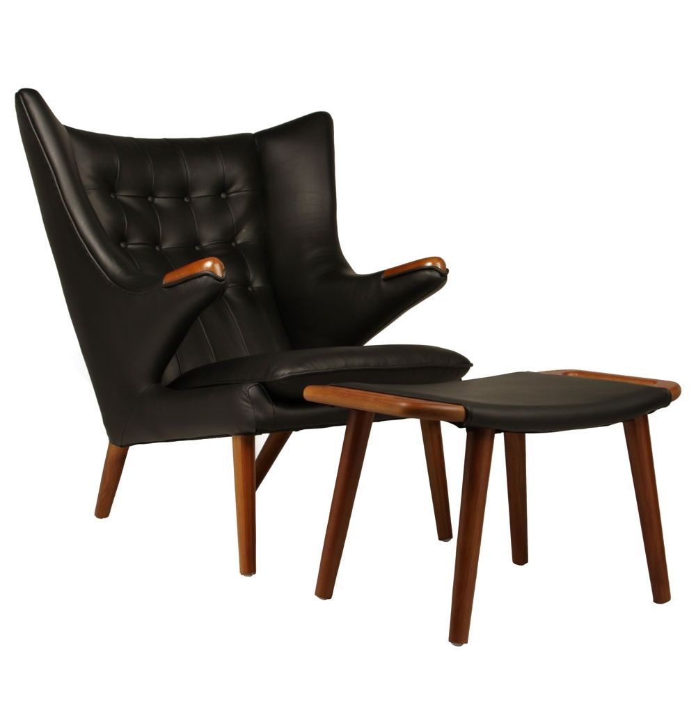 Replica Hans Wegner Papa Bear Chair Leather Matt Blatt