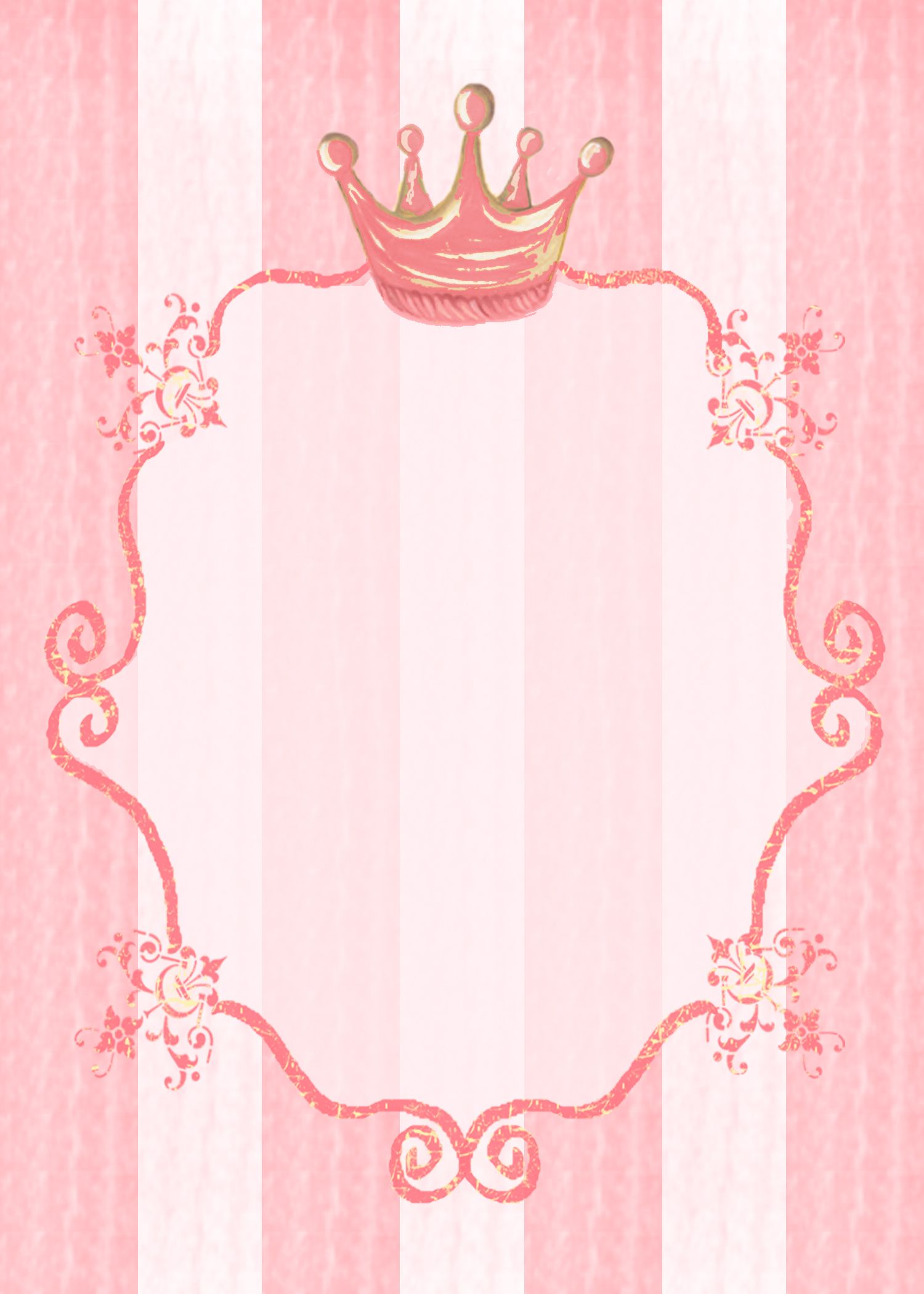 Pink Vintage Border Templates #princess party invita...