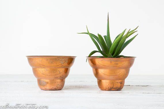 2 Copper Planters   Mid Century Planters   Unique Flower Pots   Copper Plant  Pot   Plant Lovers Gift   Small Planters   Rustic Copper Pots | Copper  Planters ...