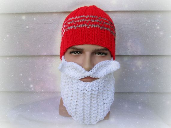 Knitted Santa Hat With Beard White Cold Protection