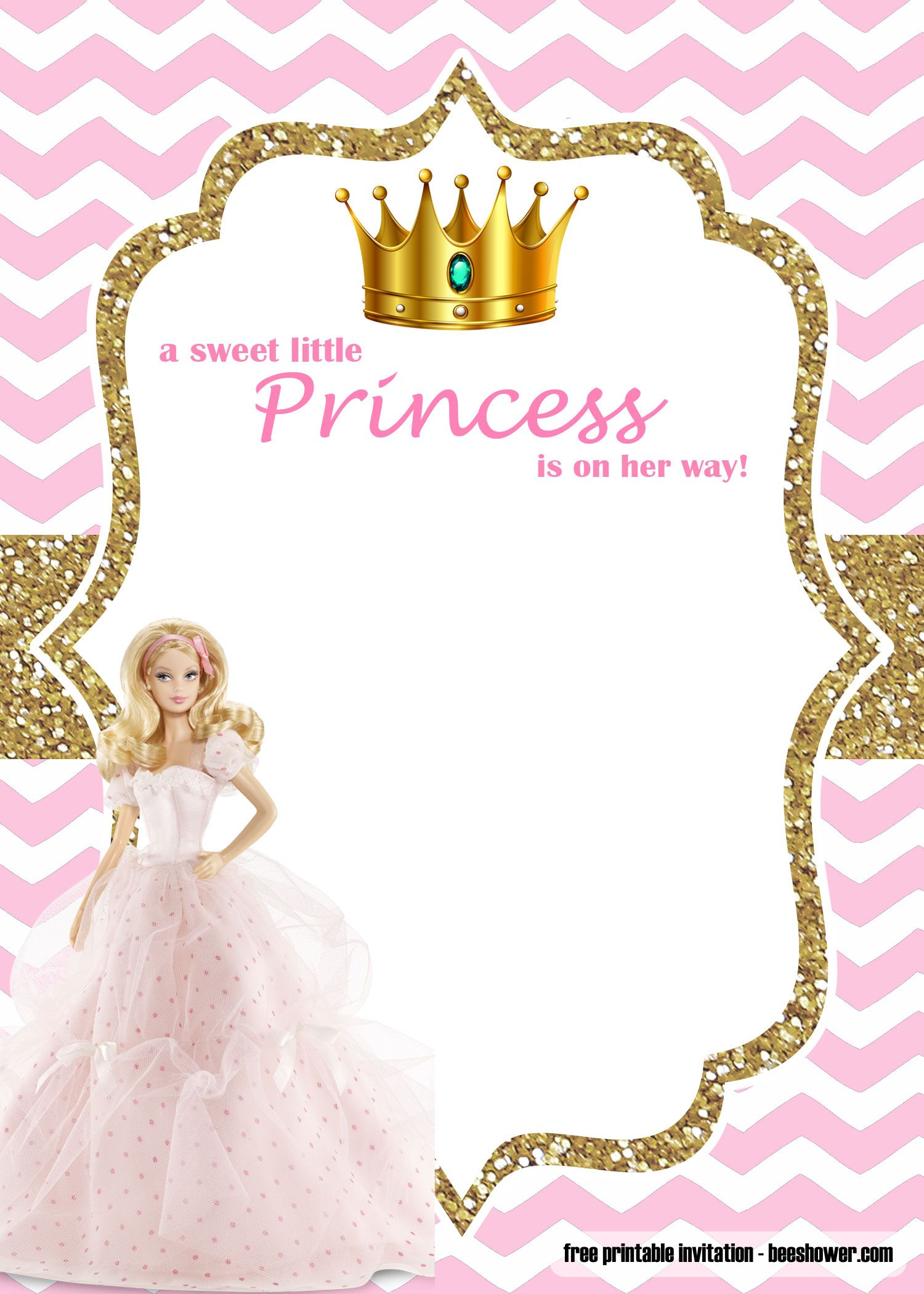 Free Princess Barbie Baby Shower Invitations Templates