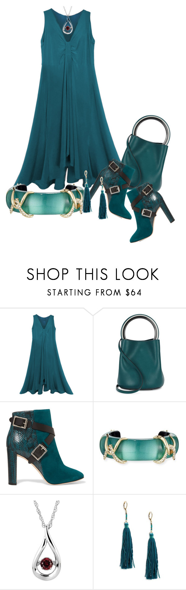 """""""Empire Dress in Teal"""" by jakenpink ❤ liked on Polyvore featuring Marni, Jimmy Choo, Alexis Bittar, Boston Bay Diamonds and Shashi"""