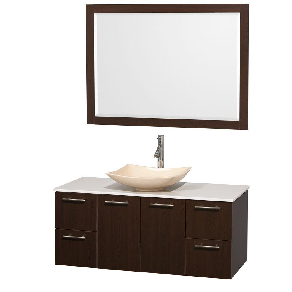 Wyndham Collection Amare 48 in. Vanity in Espresso with Solid-Surface Vanity Top in White, Marble Sink and 46 in. Mirror