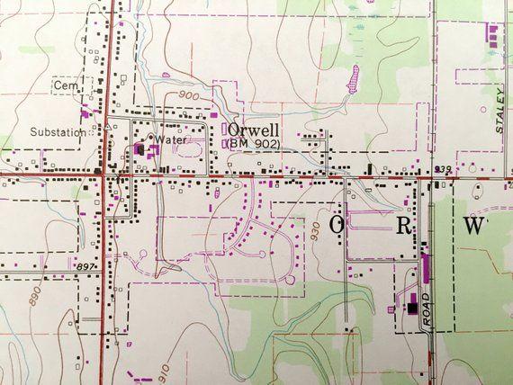 Orwell Ohio Map.Antique Orwell Ohio 1960 Us Geological Survey Topographic Map