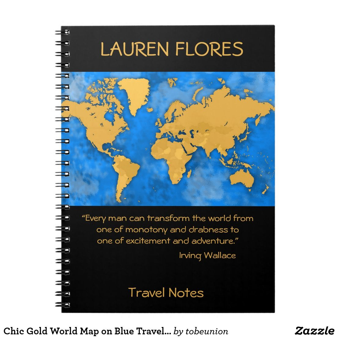 Chic gold world map on blue travelling quote notebook design by chic gold world map on blue travelling quote notebook design by grypons gumiabroncs Images