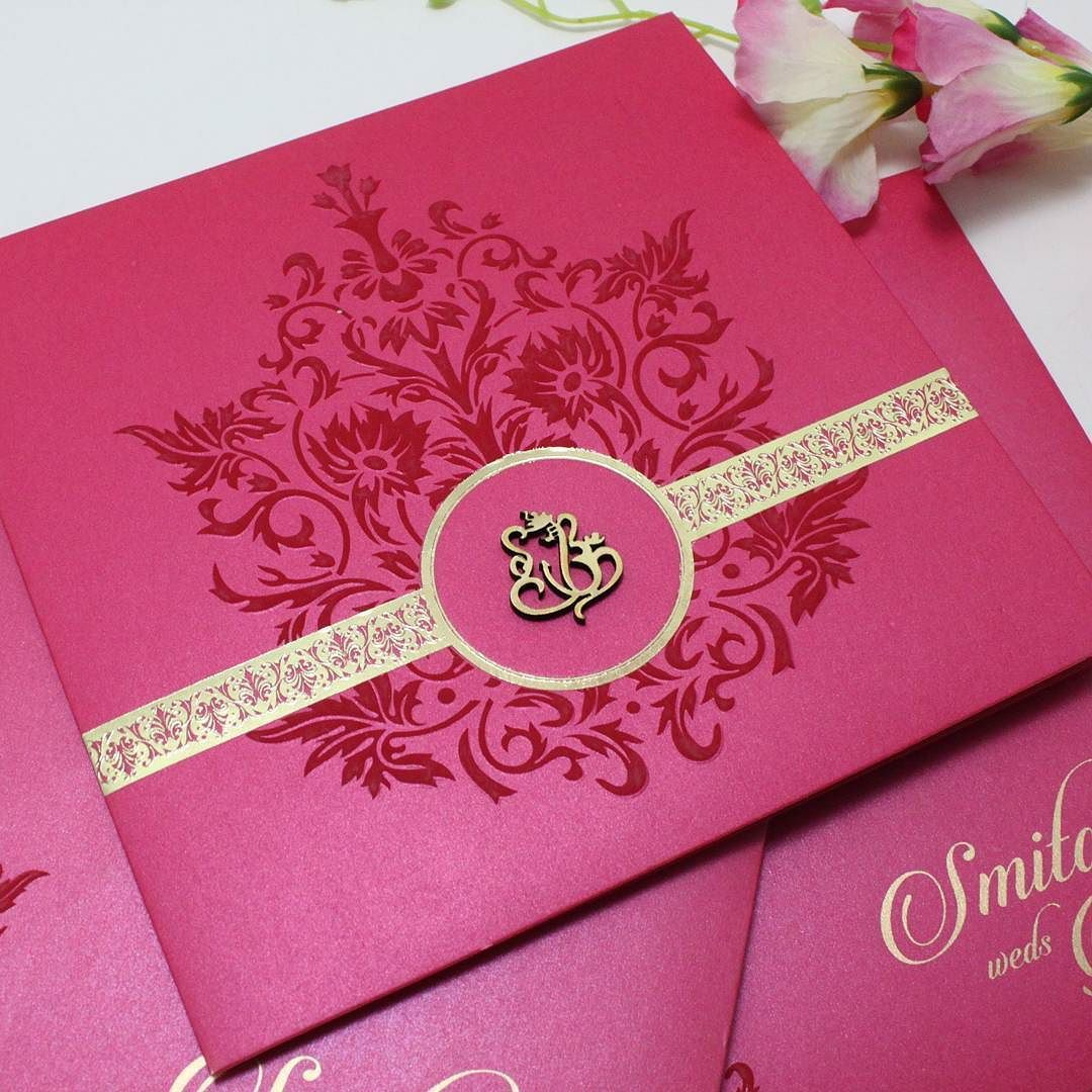 Magenta colour card in #goldfoil strip and #lasercut religious logo ...