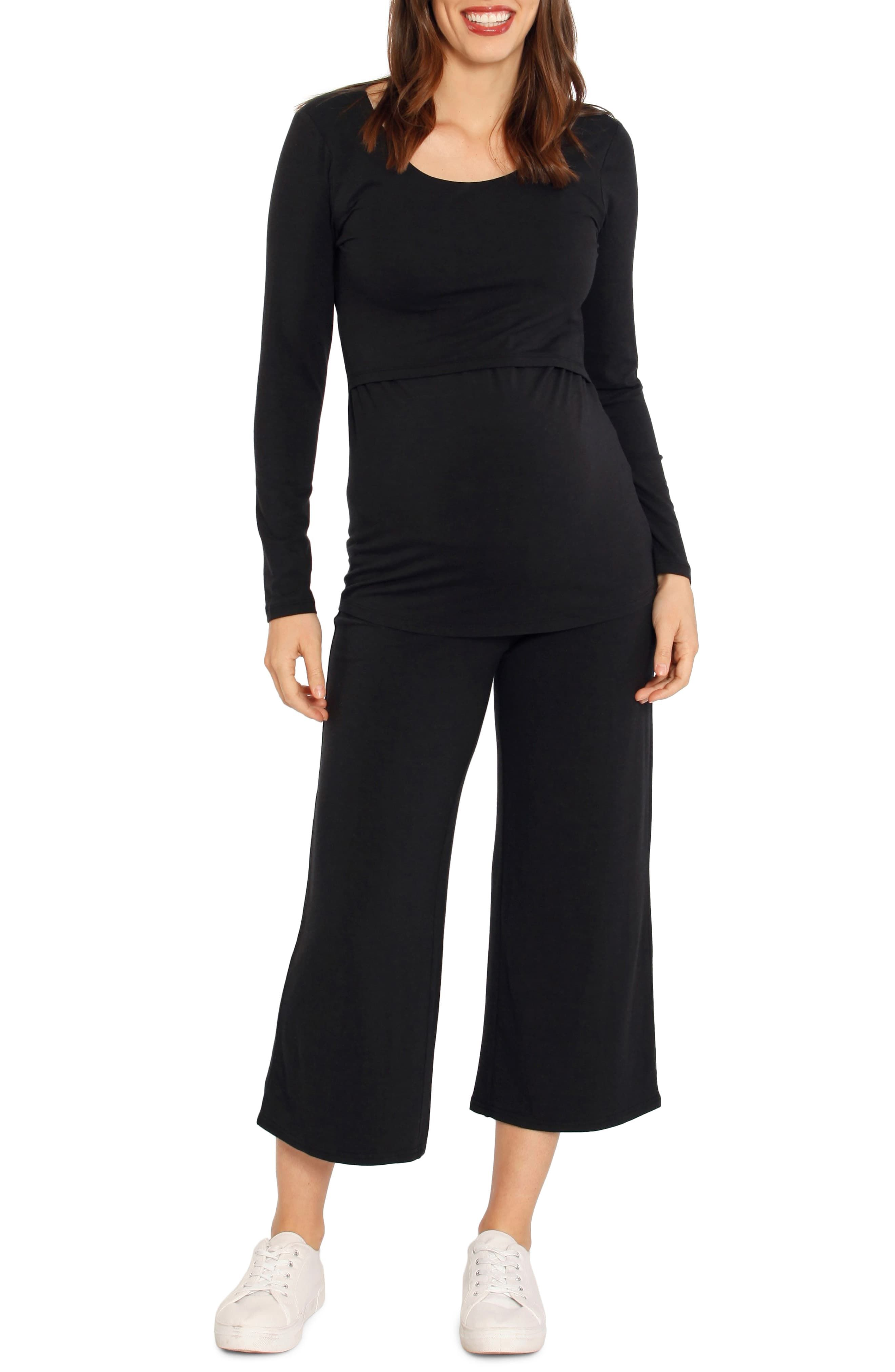 bf993664a7d Women's Angel Maternity Crop Wide Leg Maternity Pants, Size XX-Large - Black