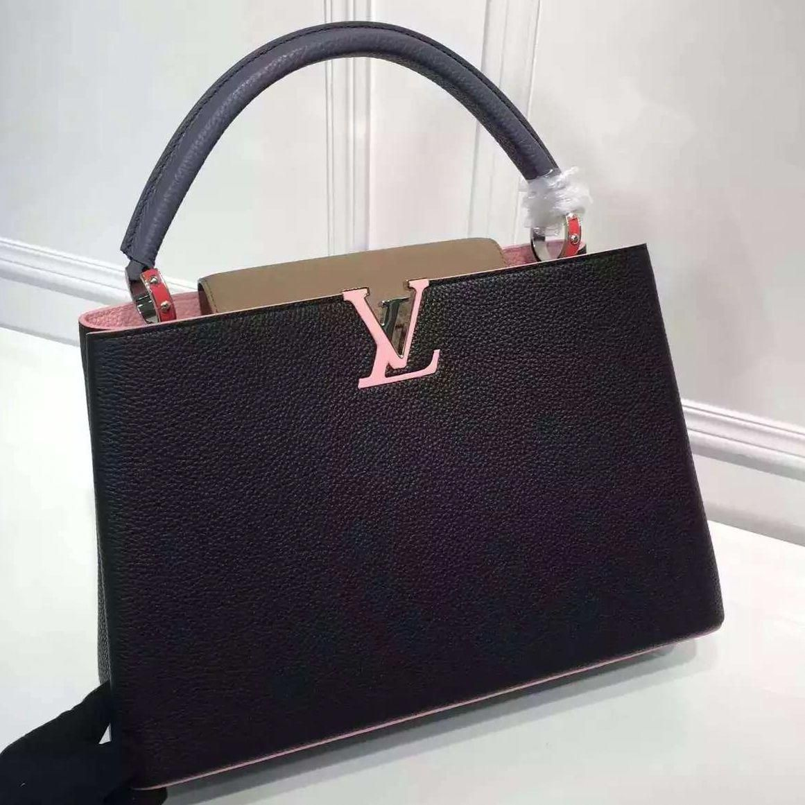 Louis Vuitton Grained Calfskin Multicolor Capucines MM Bag Black Pink   Louisvuittonhandbags 965eccd77b