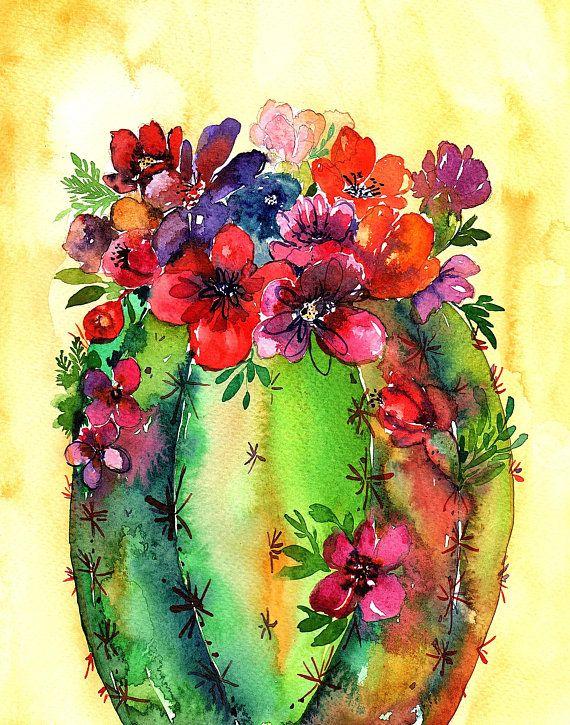 Photo of Barrel Honey Pot Cactus Desert Floral Spring Watercolor Art Illustration