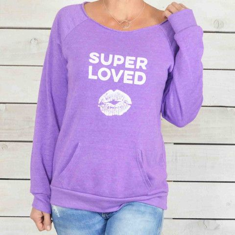 Super LOVED! ~ Purple Dancer Neck Sweatshirt – SuperLoveTees | Graphic Tees Inspired By Love