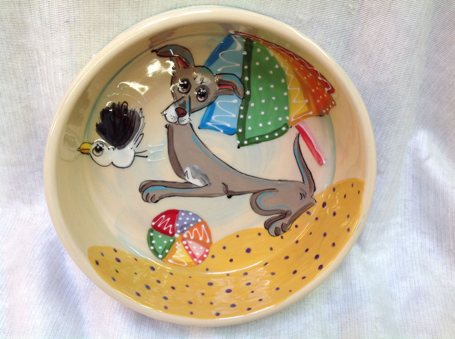 Hand Painted Ceramic Greyhound Dog Bowl signed by Debby Carman Faux Paw Productions by FauxPawProductions on Etsy