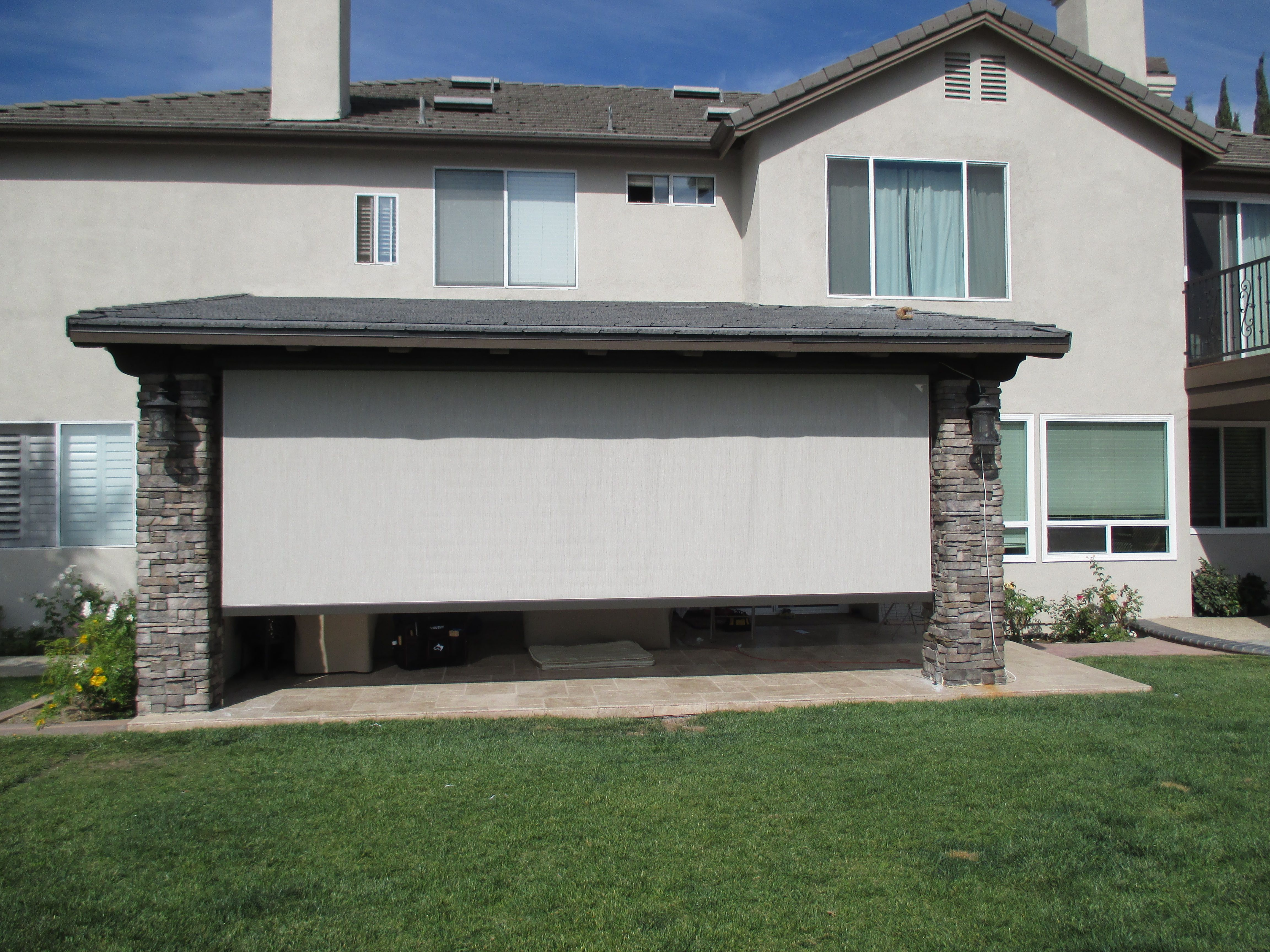 Motorized Sun Screen (almost Fully Lowered Into Opening) For Back Patio In  Yorba Linda