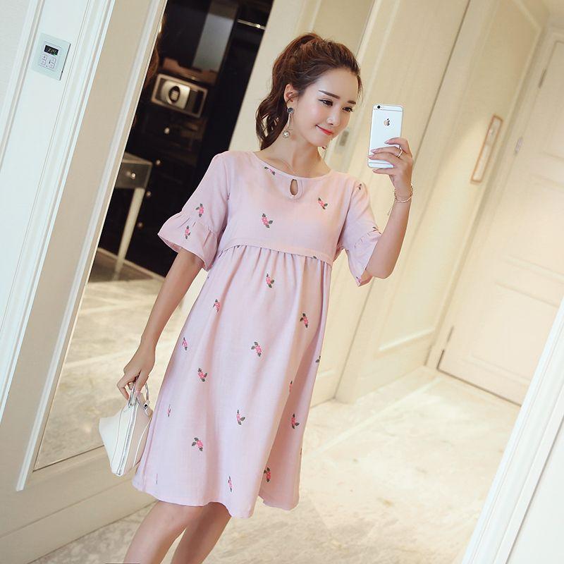 baf15ddce Cheap 1019   de verano de maternidad de moda de enfermería dress ties  cintura de algodón de lino ropa de lactancia para las mujeres embarazadas  ropa ...