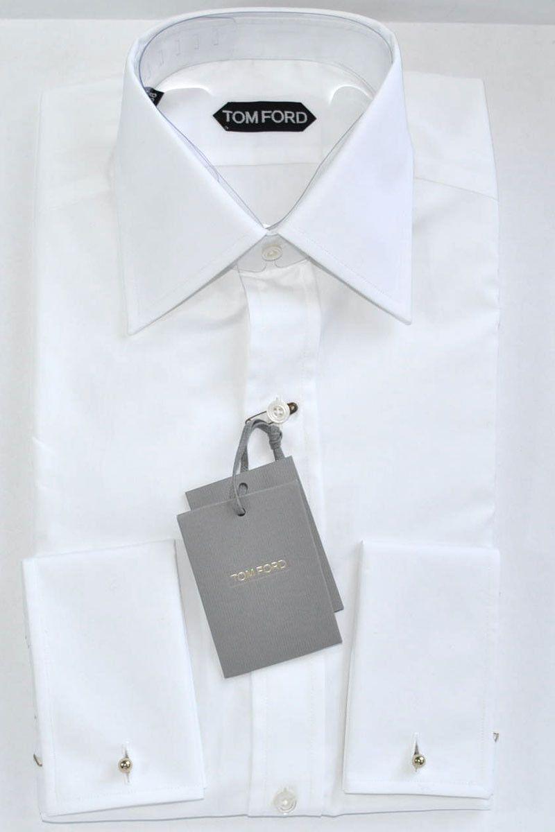 White dress shirt - french cuffs, men shirt by Tom Ford $640 SALE $320