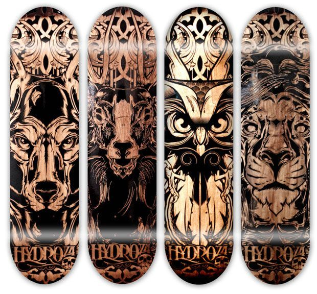 laser etched skateboards by hydro74 - Skateboard Design Ideas