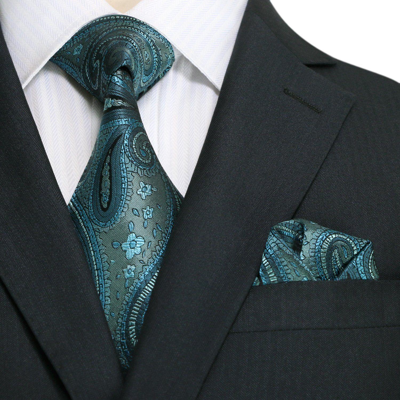 Landisun 40L Teal Blues Paisleys Mens Silk Tie Set: Tie+Hanky &Plastic Hook